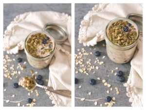 Vanilla Soaked Overnight Oats with Maine Blueberries + Chai Seeds